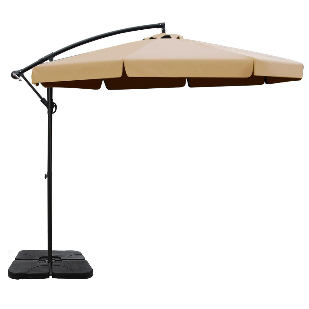 Instahut 3M Umbrella with 50x50cm Base Outdoor Umbrellas Cantilever Patio Sun Beach UV Beige Kings Warehouse