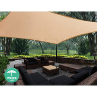 Instahut 4 x 5m Waterproof Rectangle Shade Sail Cloth - Sand Beige Shading Kings Warehouse