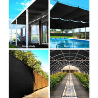Instahut 50% Sun Shade Cloth Shadecloth Sail Roll Mesh 1.83x20m 100gsm Black Shading Kings Warehouse