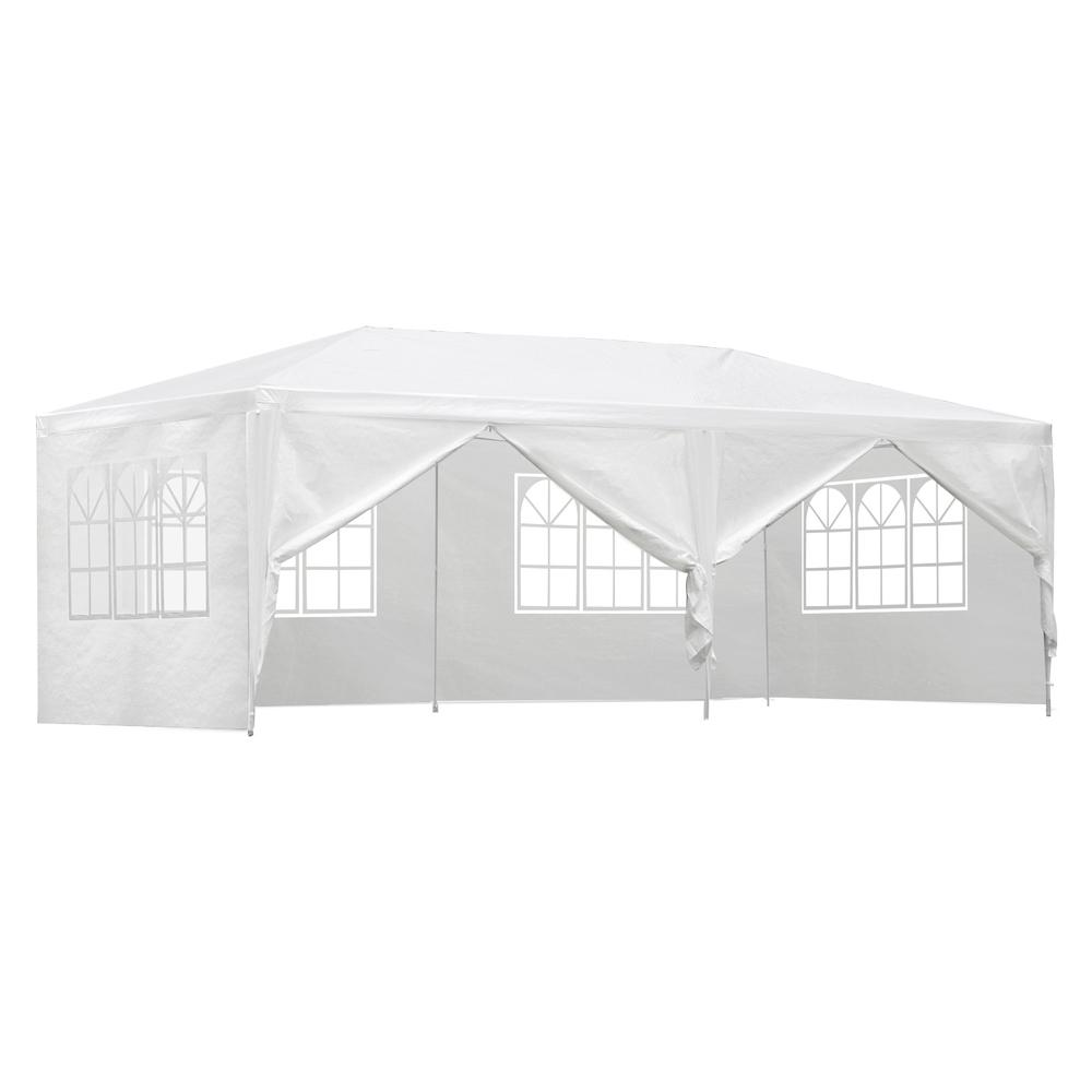 Instahut Gazebo 3x6m Outdoor Marquee Side Wall Party Wedding Tent Camping White 6 Panel Shading Kings Warehouse