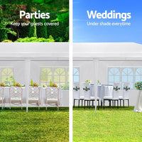 Instahut Gazebo 3x9m Outdoor Marquee side Wall Gazebos Tent Canopy Camping White 8 Panel Shading Kings Warehouse