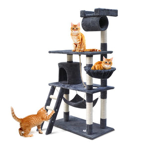 i.Pet Cat Tree 141cm Trees Scratching Post Scratcher Tower Condo House Furniture Wood Cat Supplies Kings Warehouse