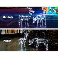 Jingle Jollys Christmas Motif Lights LED Rope Reindeer Waterproof Solar Powered Occasions Kings Warehouse
