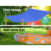 Keezi Boat Sand Pit With Canopy Kings Warehouse