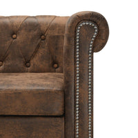 L-shaped Chesterfield Sofa Artificial Suede Leather Brown Kings Warehouse