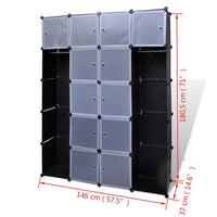 Modular Cabinet 14 Compartments Black and White 37x146x180.5 cm Kings Warehouse