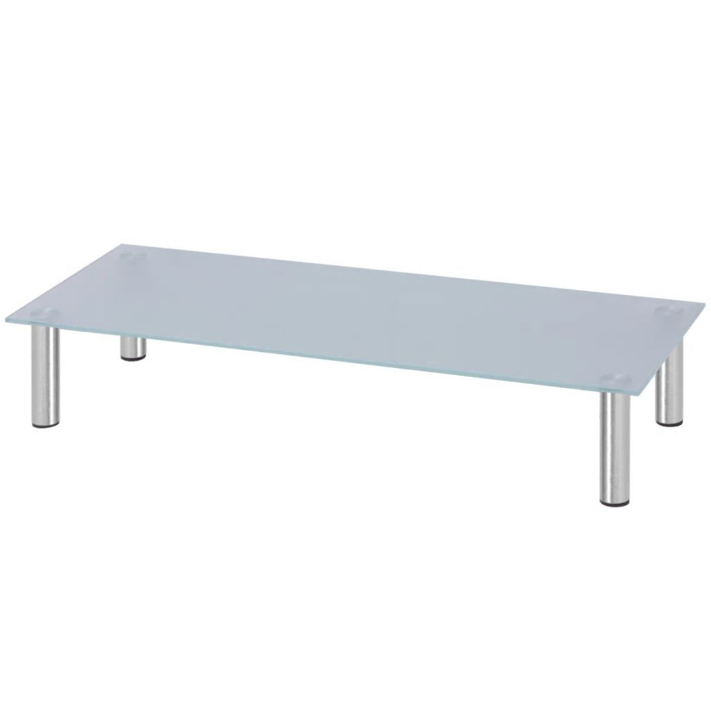 Monitor Riser/TV Stand 100x35x17 cm Glass White Kings Warehouse Default Title