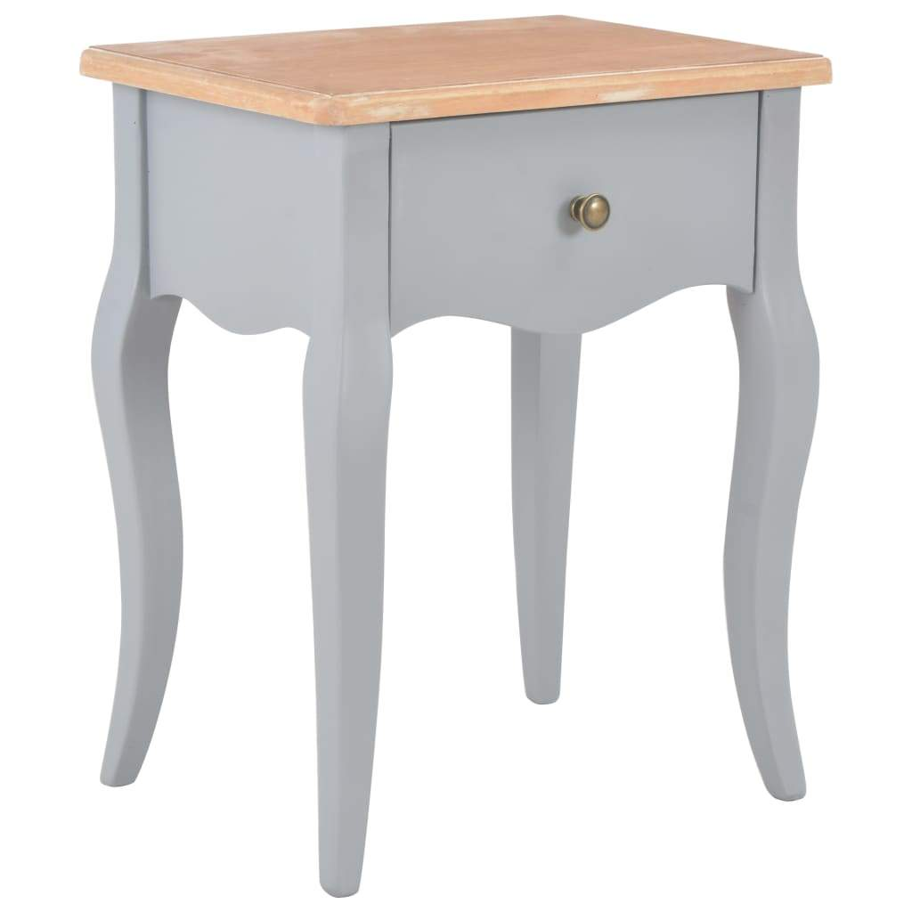 Nightstand Grey and Brown 40x30x50 cm Solid Pine Wood Kings Warehouse