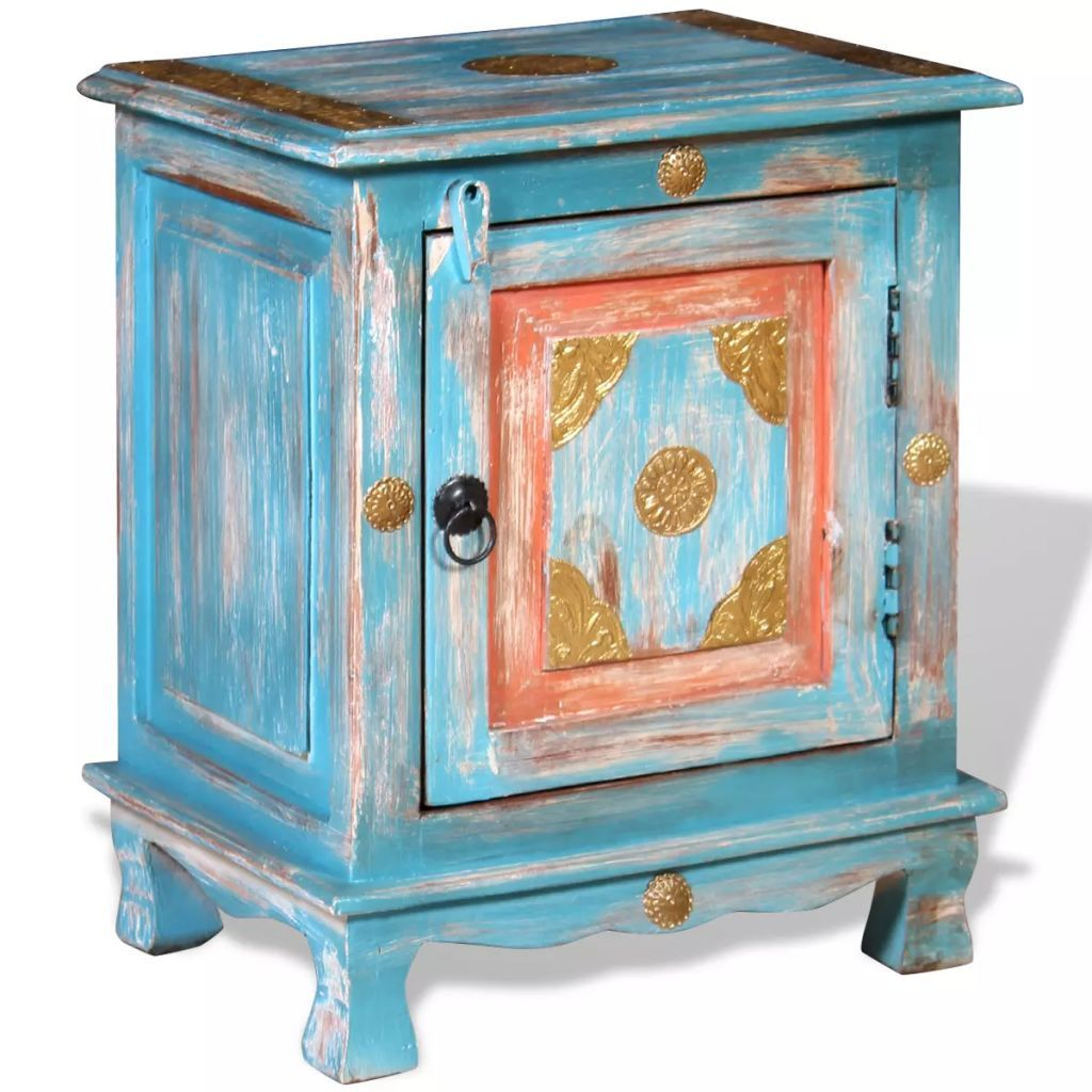 Nightstand Solid Mango Wood Blue FALSE Kings Warehouse Default Title