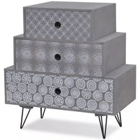 Nightstand with 3 Drawers Grey FALSE Kings Warehouse