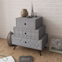 Nightstand with 3 Drawers Grey FALSE Kings Warehouse Default Title