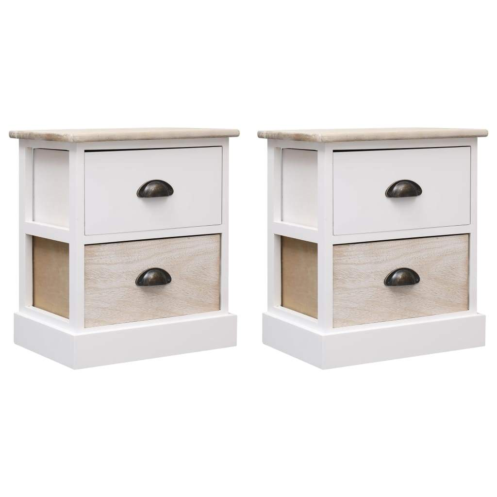Nightstands 2 pcs White and Natural 38x28x45 cm Paulownia Wood Kings Warehouse