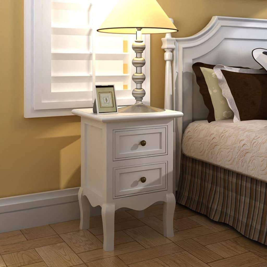 Nightstands 4 pcs with 2 Drawers MDF White FALSE Kings Warehouse Default Title