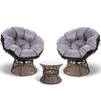 Gardeon Papasan Chair and Side Table Set- Broen
