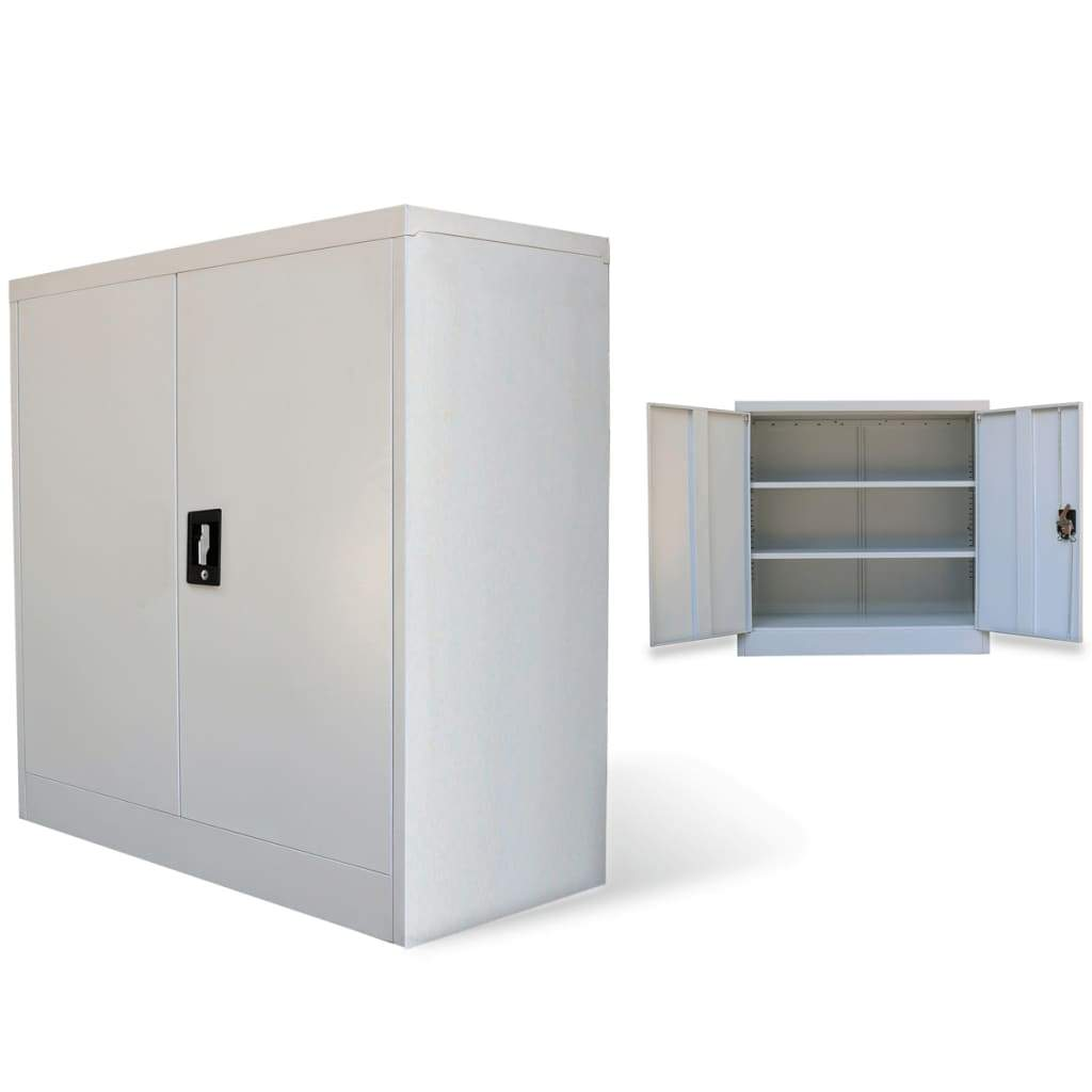 Office Cabinet with 2 Doors Grey 90 cm Steel Kings Warehouse