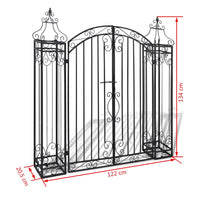 Ornamental Garden Gate Wrought Iron 122x20.5x134 cm Kings Warehouse