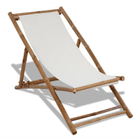 Outdoor Deck Chair Bamboo and Canvas