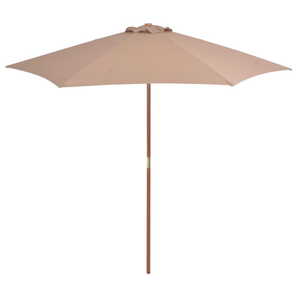 Outdoor Parasol with Wooden Pole 270 cm Taupe Kings Warehouse