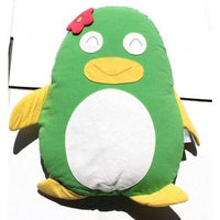 Penguin Cuddling Cushion Green