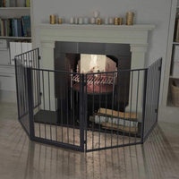 Pet Fireplace Fence Steel Black