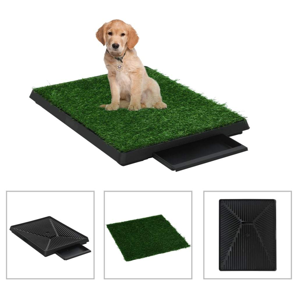 Pet Toilet with Tray and Artificial Turf Green 63x50x7 cm WC Kings Warehouse