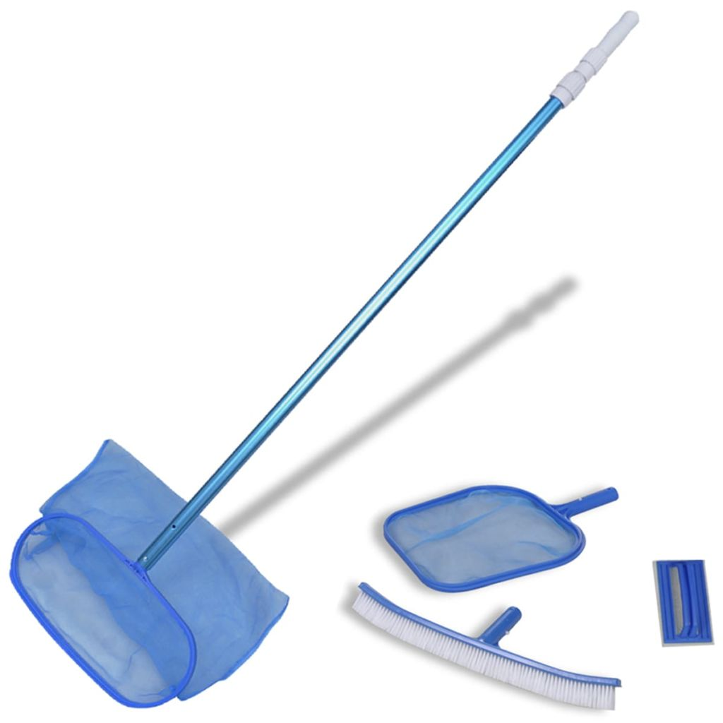Pool Cleaning Set Brush 2 Leaf Skimmers 1 Telescopic Pole Kings Warehouse