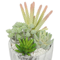 Potted Artificial Succulent Bowl with Marble Pot 20.5cm
