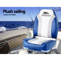 Seamanship 2X Folding Boat Seats Seat Marine Seating Set All Weather Swivels Outdoor Kings Warehouse