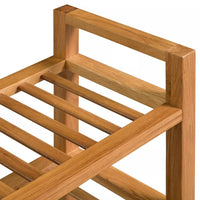 Shoe Rack with 3 Shelves 100x27x59,5 cm Solid Oak Wood Kings Warehouse