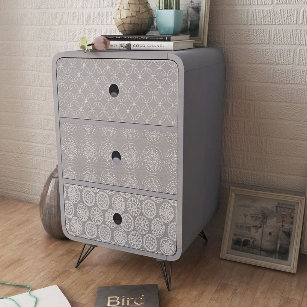 Side Cabinet with 3 Drawers Grey FALSE Kings Warehouse Default Title