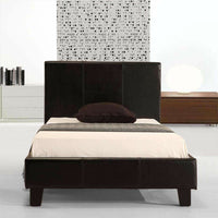 Single PU Leather Bed Frame Black Kings Warehouse