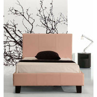 Single PU Leather Bed Frame Pink Kings Warehouse