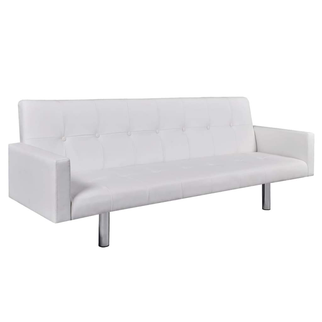 Sofa Bed with Armrest White Artificial Leather Kings Warehouse