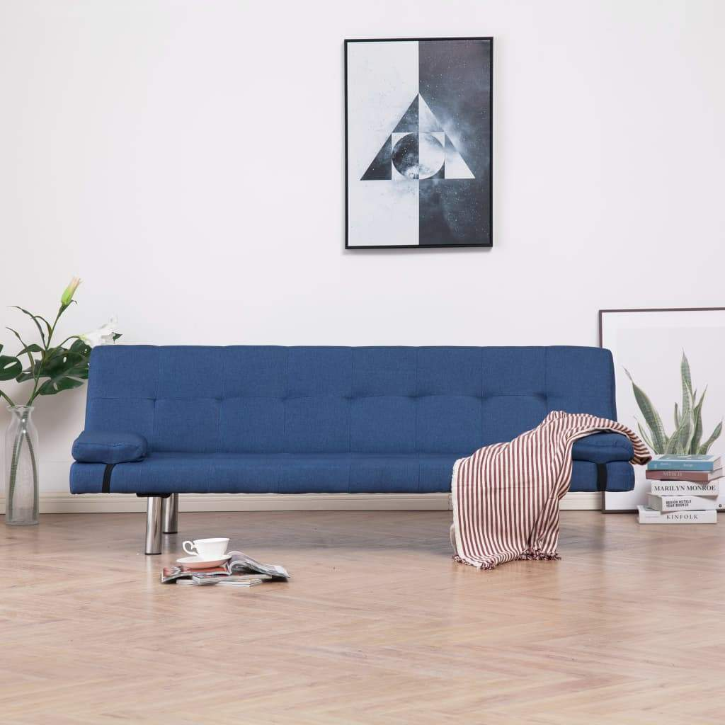 Sofa Bed with Two Pillows Blue Polyester Kings Warehouse