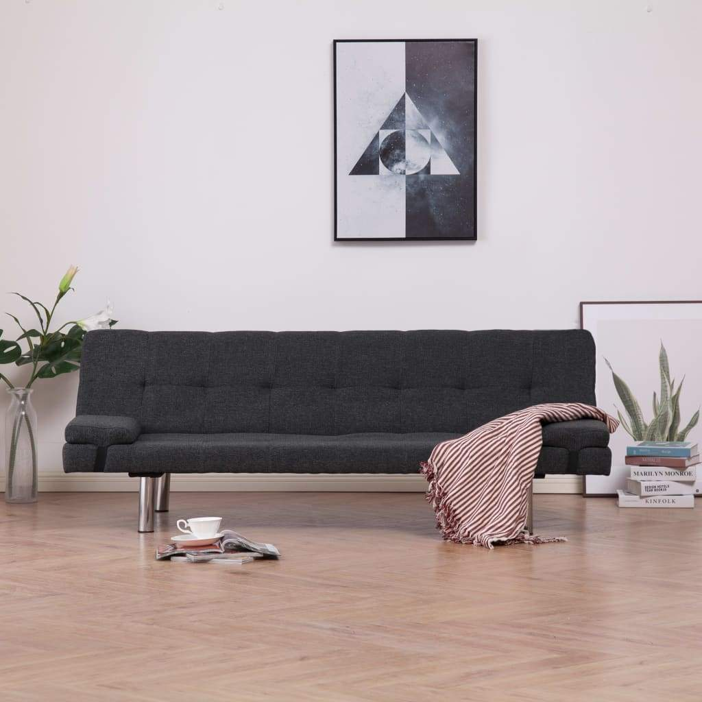Sofa Bed with Two Pillows Dark Grey Polyester Kings Warehouse