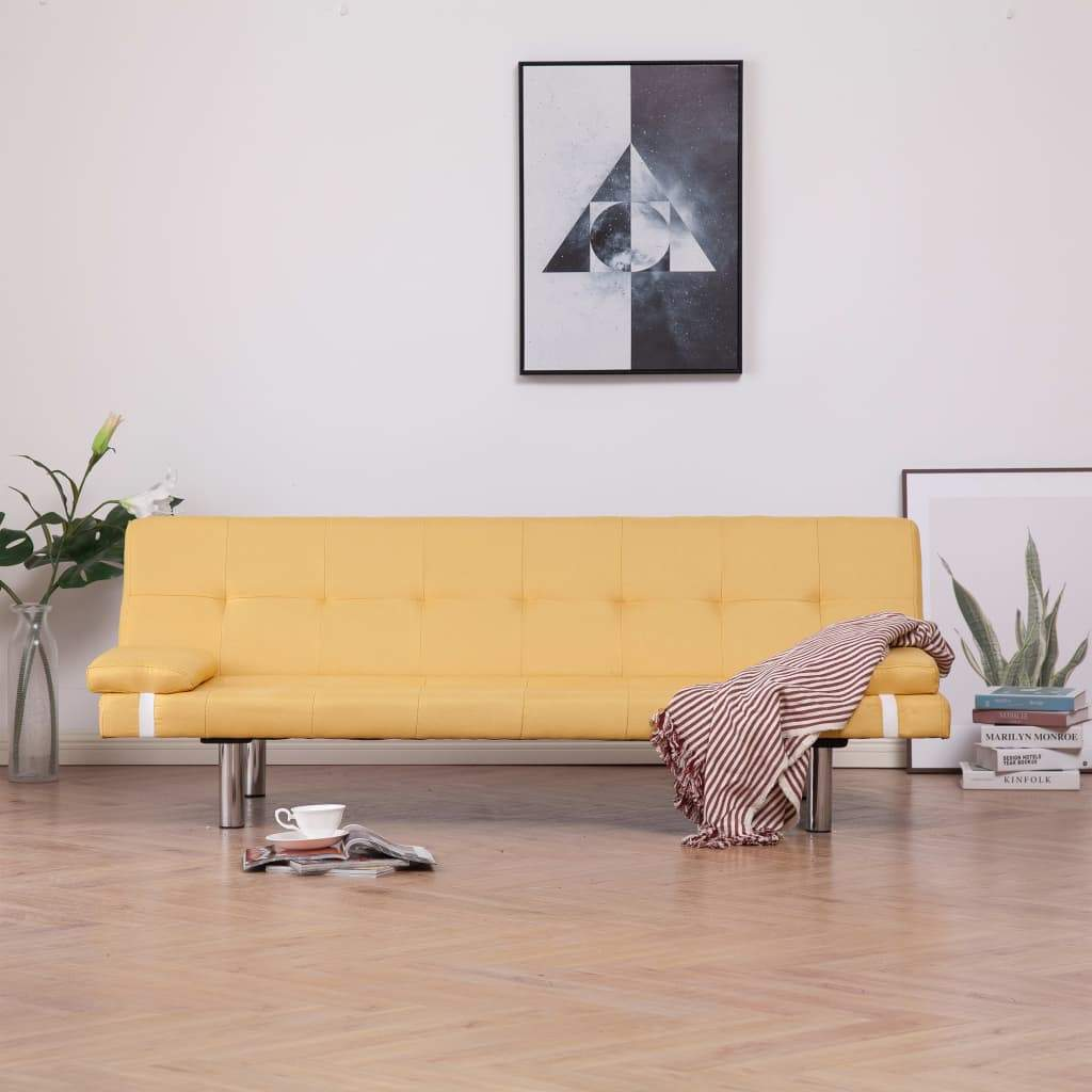 Sofa Bed with Two Pillows Yellow Polyester Kings Warehouse