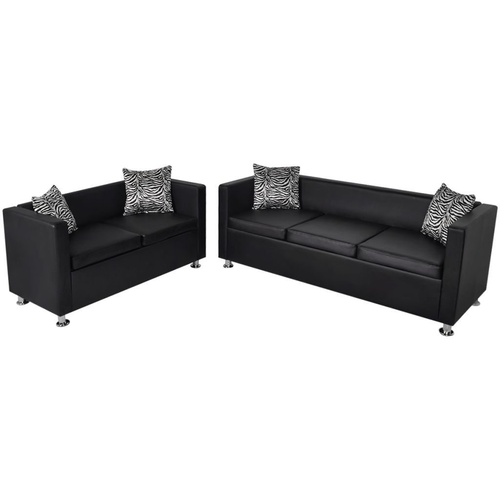 Sofa Set Artificial Leather 3-Seater and 2-Seater Black Kings Warehouse