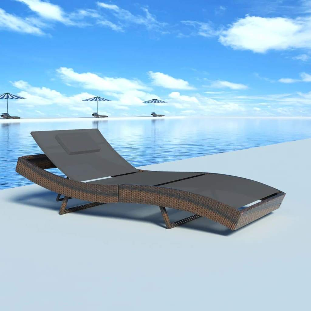 Sun Lounger Poly Rattan Brown Kings Warehouse