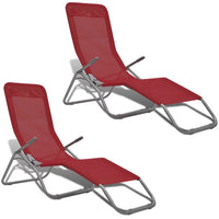 Sun Loungers 2 pcs Steel Frame and Textilene Red Kings Warehouse