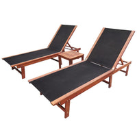 Sun Loungers 2 pcs with Table Solid Acacia Wood and Textilene Kings Warehouse