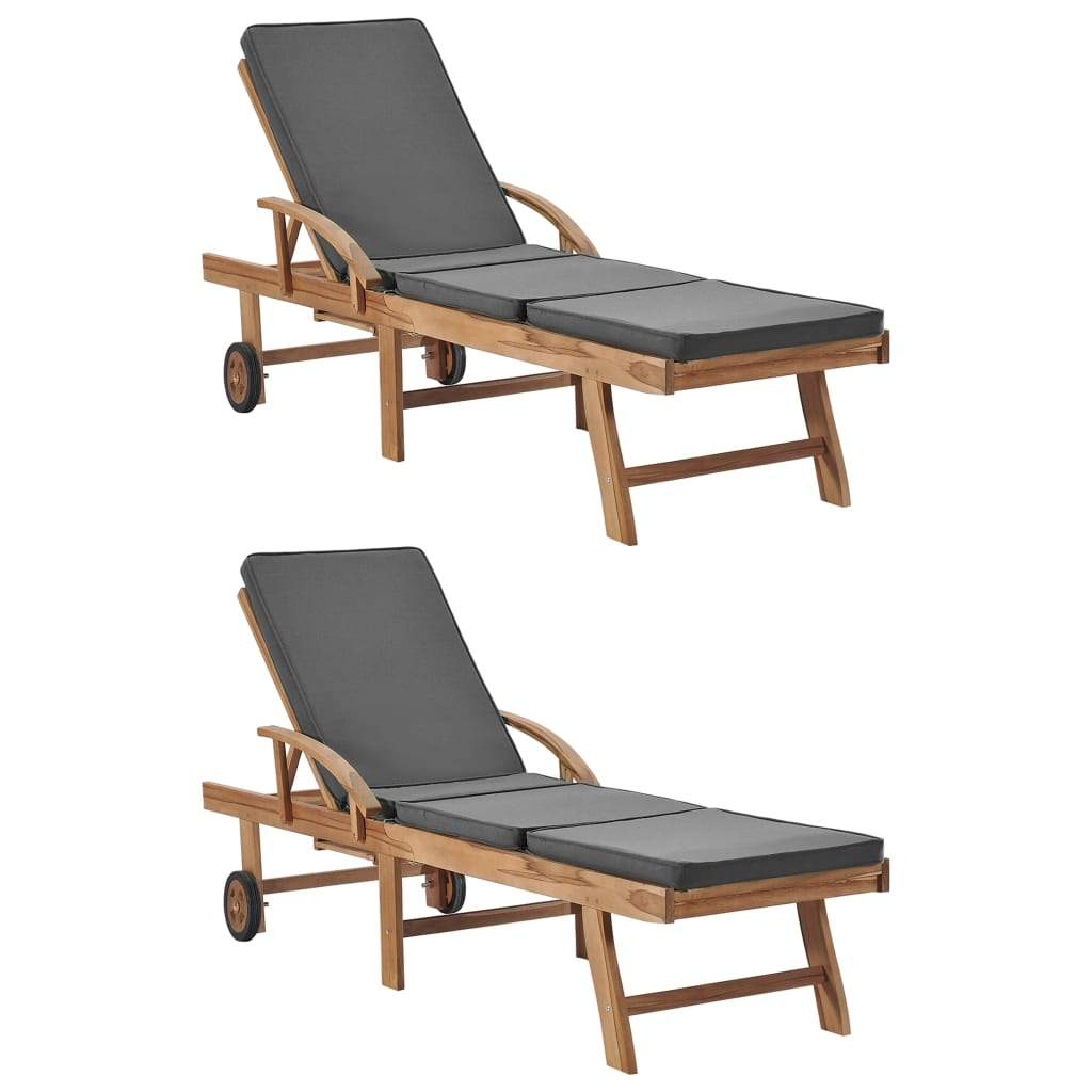 Sun Loungers with Cushions 2 pcs Solid Teak Wood Dark Grey Kings Warehouse