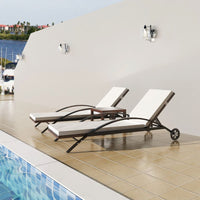Sun Loungers with Table Poly Rattan Brown