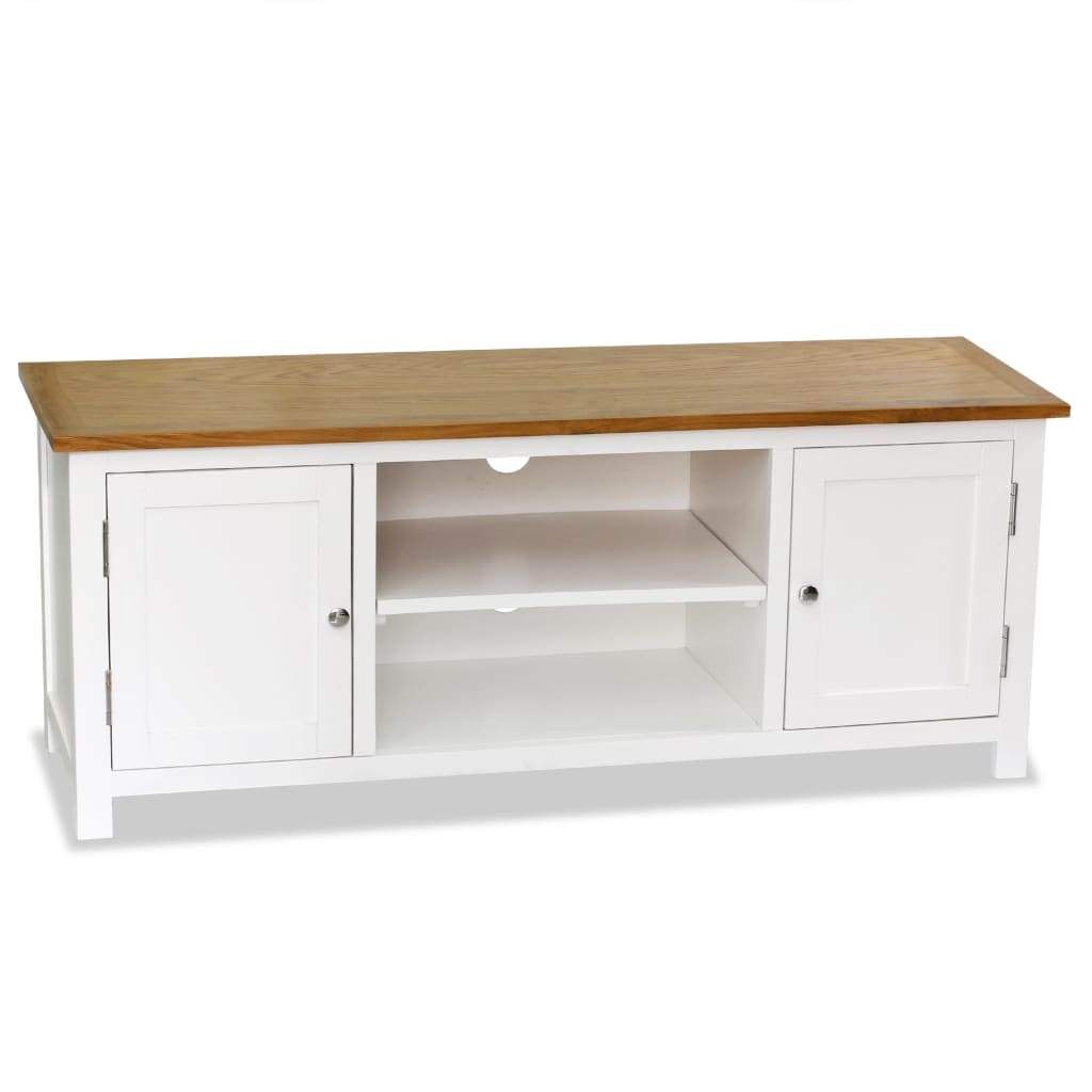 TV Cabinet 120x35x48 cm Solid Oak Wood Kings Warehouse Default Title