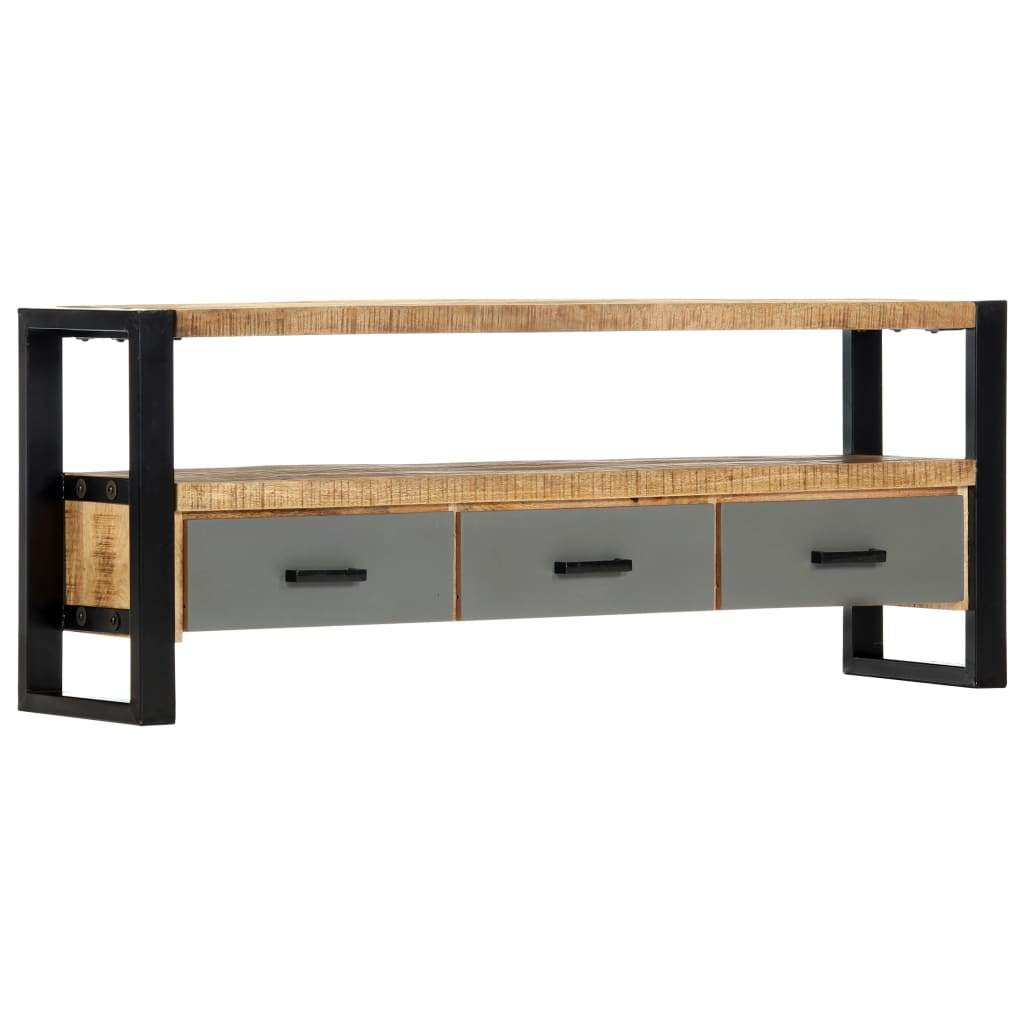 TV Cabinet 130x30x50 cm Solid Mango Wood Kings Warehouse Default Title