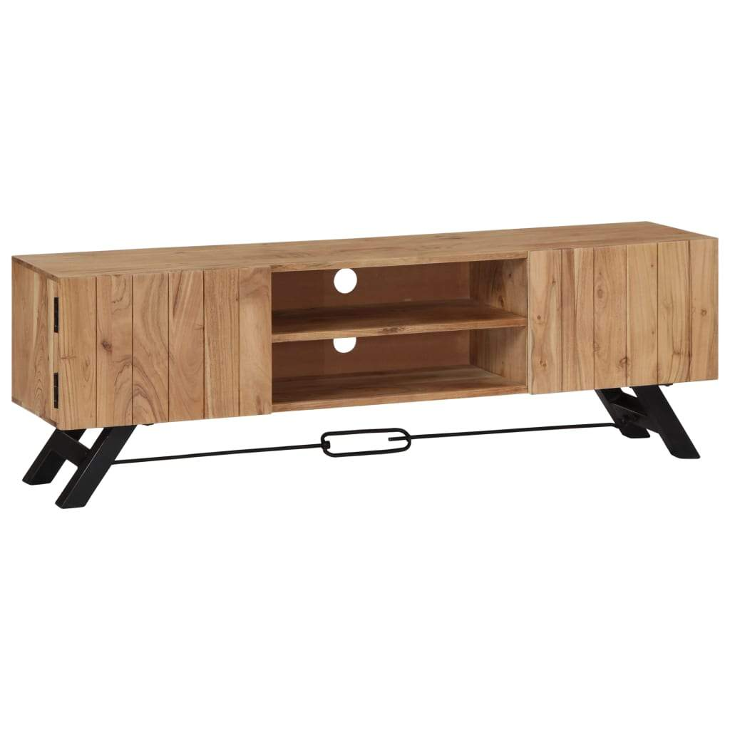 TV Cabinet 140x30x45 cm Solid Acacia Wood Kings Warehouse Default Title