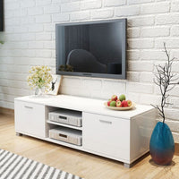 TV Cabinet High-Gloss White 140x40.3x34.7 cm Kings Warehouse Default Title