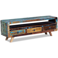 TV Cabinet with 3 Drawers Solid Reclaimed Wood Kings Warehouse