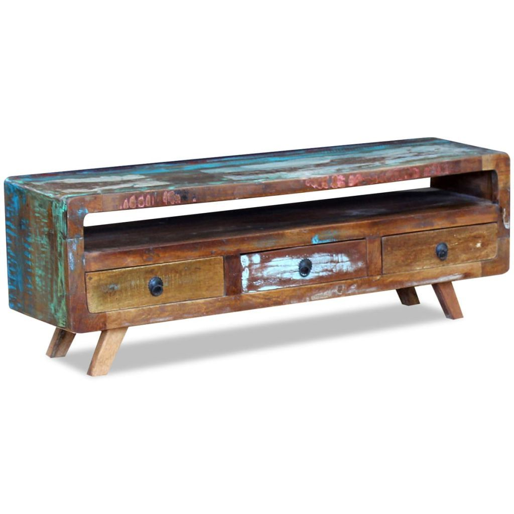 TV Cabinet with 3 Drawers Solid Reclaimed Wood Kings Warehouse Default Title