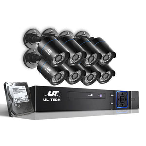 UL-Tech CCTV Security System 2TB 8CH DVR 1080P 8 Camera Sets Kings Warehouse