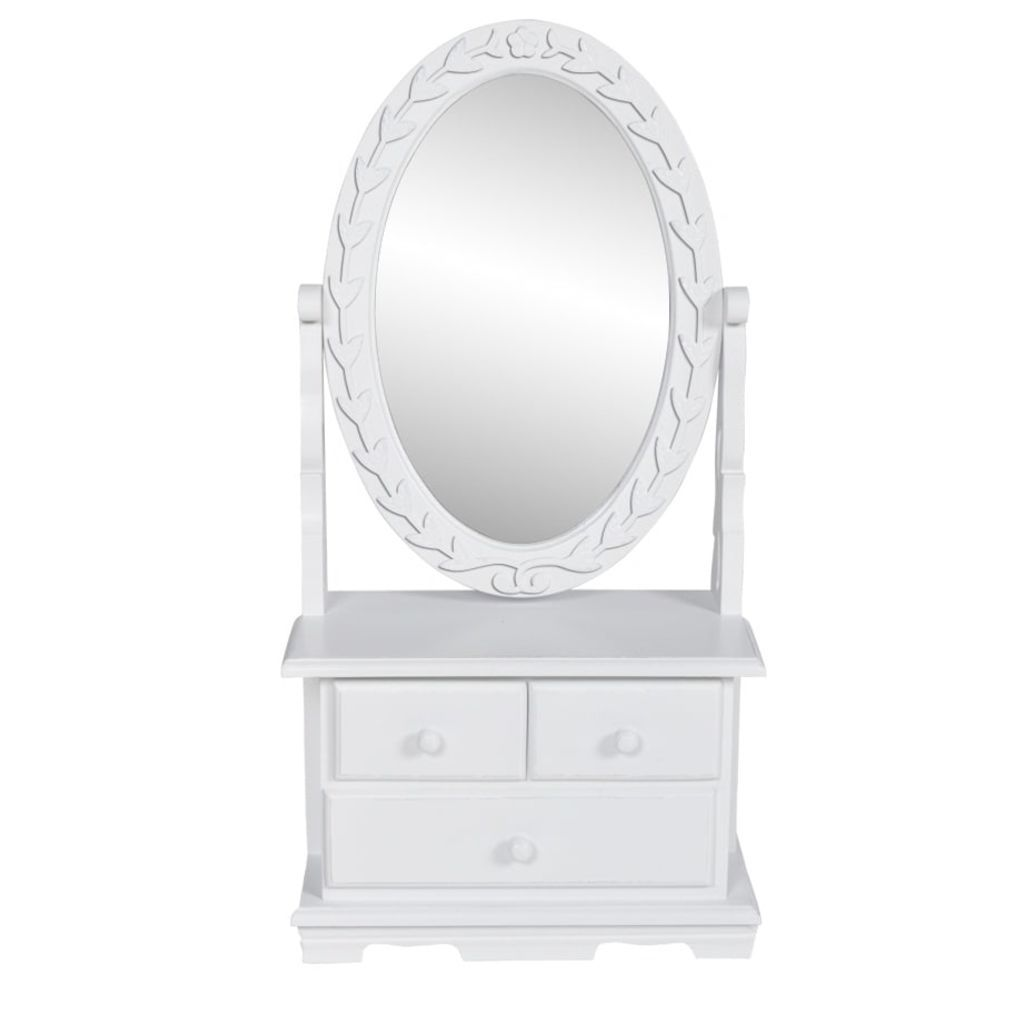 Vanity Makeup Table with Oval Swing Mirror MDF Kings Warehouse
